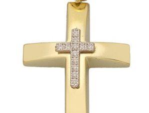 Σταυρός από Χρυσό 14Κ με πέτρες SIO13819