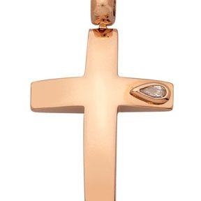 Σταυρός από Χρυσό 14Κ με πετρα SIO13919