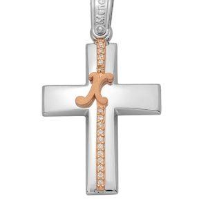 Σταυρός από Χρυσό 14Κ με ροζ μόνογραμμα και πέτρες SIO14159