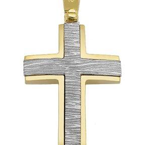 Σταυρός από Χρυσό 14Κ δίχρωμος SIO14987