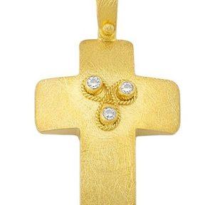Σταυρός χειροποίητος από Χρυσό 14Κ με πέτρες SIO16607