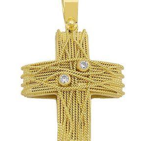 Σταυρός χειροποίητος από Χρυσό 14Κ με πέτρες SIO16987